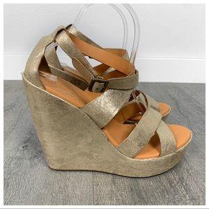 Kork-Ease Grailey Gold Platform Wedge Sandals